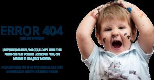 Grupo cifa niño con pintura y manos en la cabeza error 404